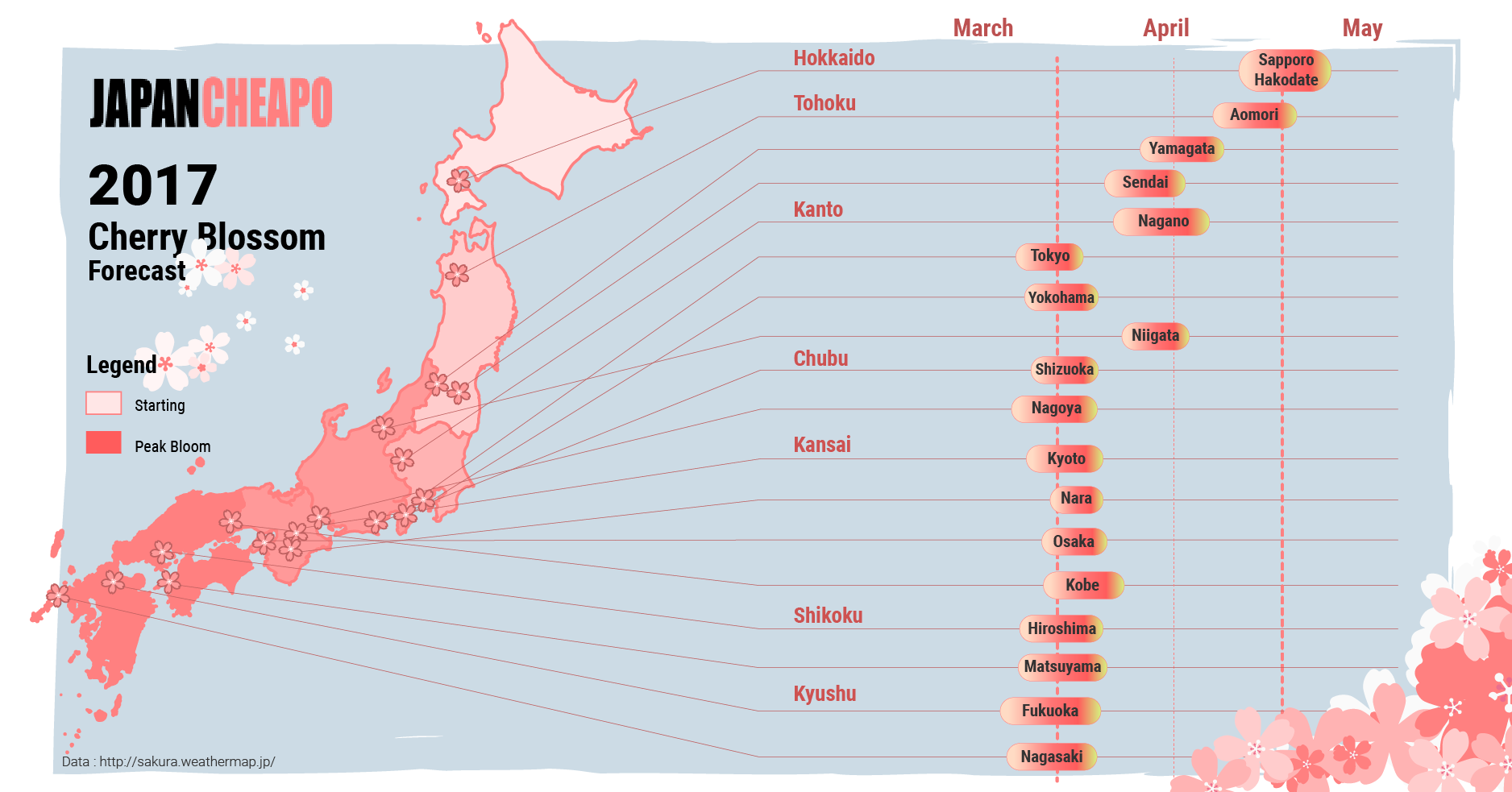 Japan Cherry Blossom Forecast By Major City Japan Cheapo - Japan map 2017