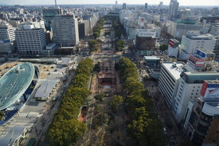 A view of Odori Park in Sapporo