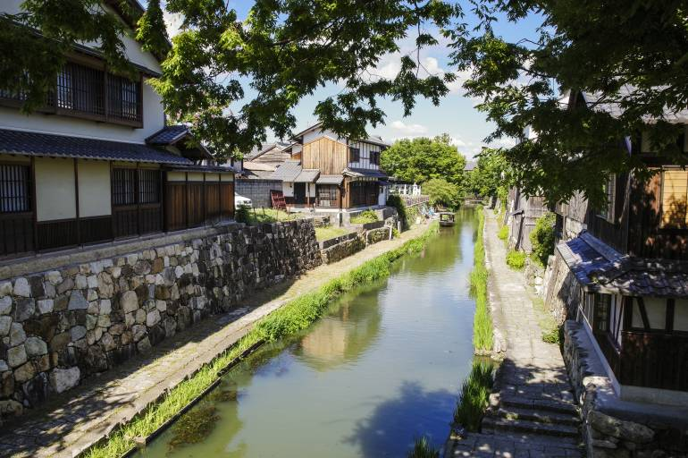 Omihachiman  canal view in summer