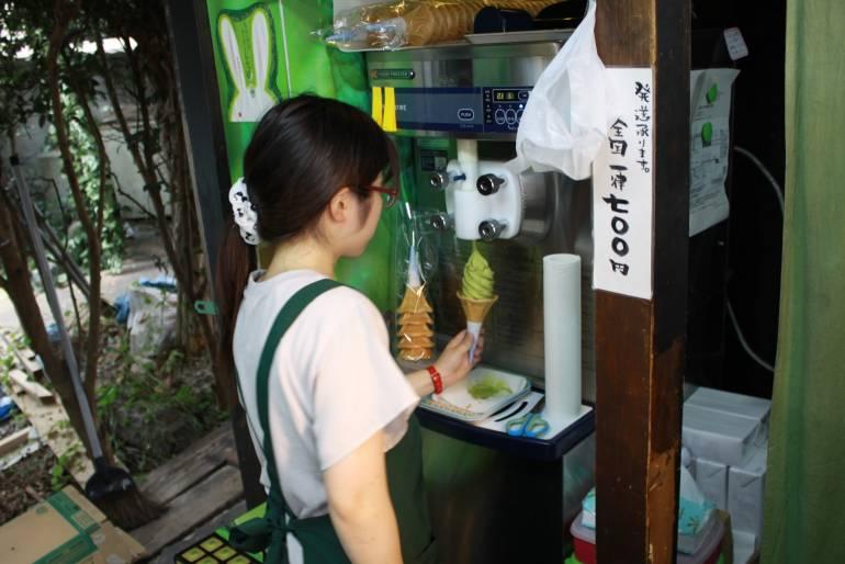 Green tea ice cream topped with a green tea kit-kat