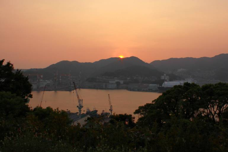 Glover's view of the sunset over Nagasaki Harbor.