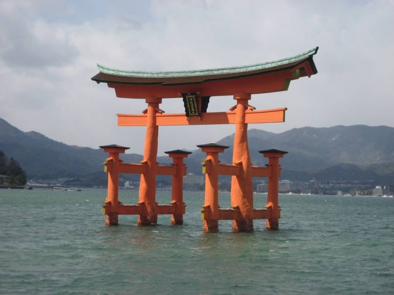 Gates to a shrine, in the sea. This is Miyajima. #onlyinjapan