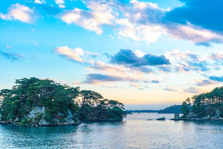 Matsushima Bay with pine trees, tohoku travel sights