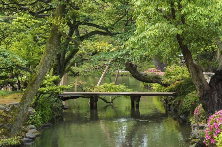 Japanese garden in Kanazawa, Chubu region, Japan