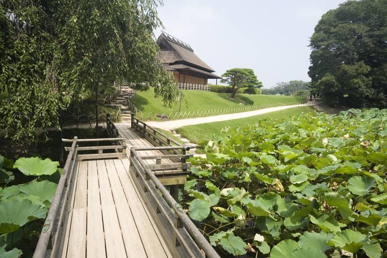 Korakuen Garden with traditional bride in Okayama