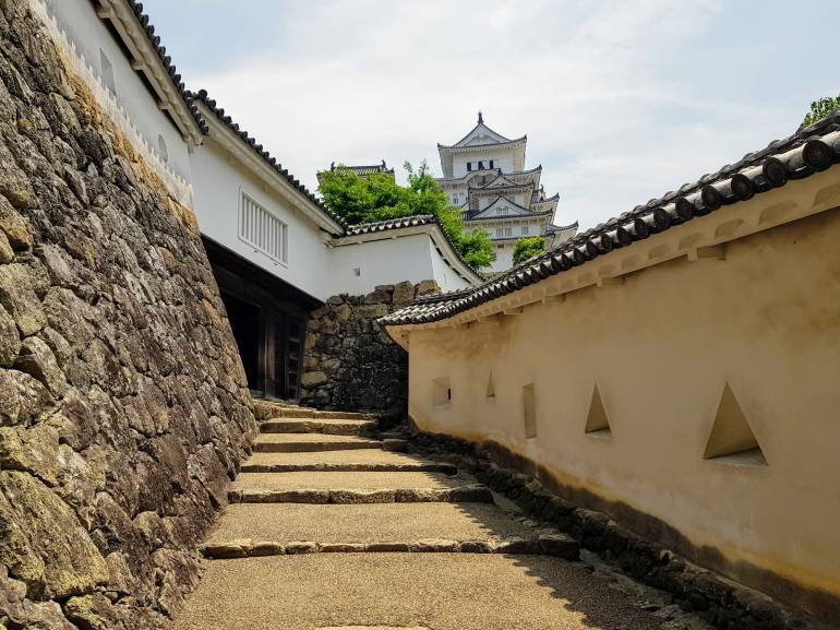 Steps and a gate leading to Himeji Castle main keep