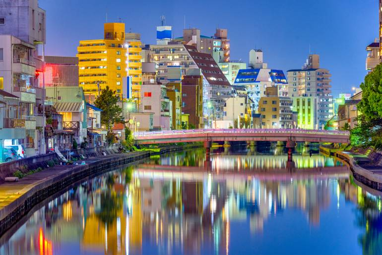wakayama cityscape waka river