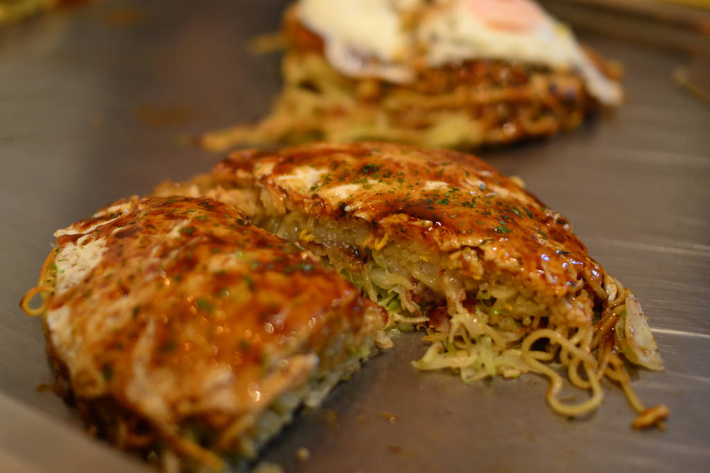 Sliced Okonomiyaki