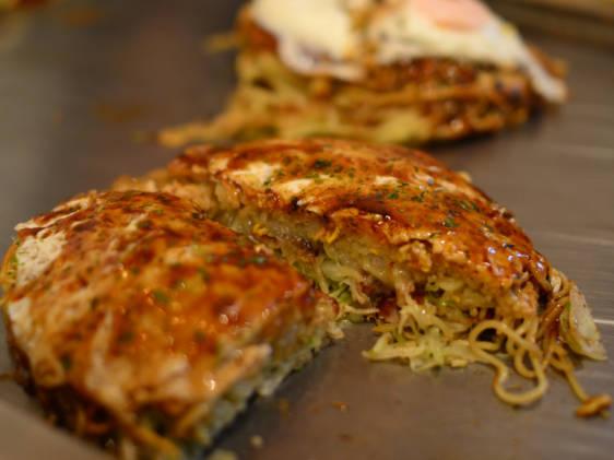 Sliced Okonomiyaki