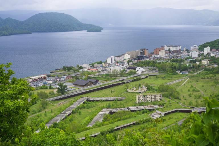 Toyako Onsen Town and Nakajima view