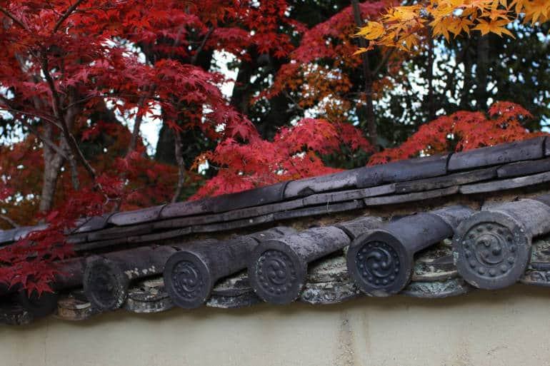Fall color, walls of Daitoku-ji