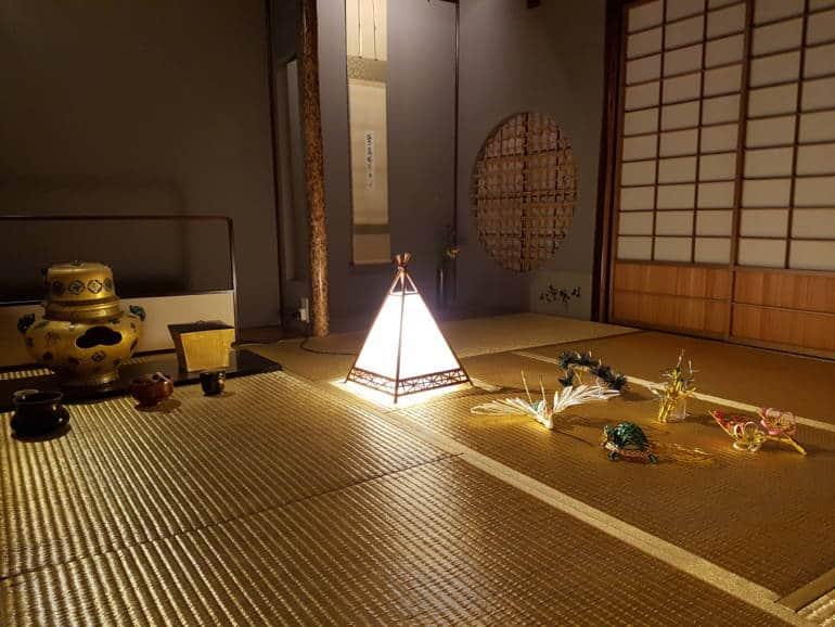 Gold leaf tatami mats at Kaikaro Teahouse, Kanazawa
