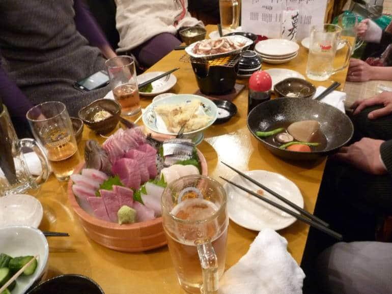 Japanese restaurant group meal