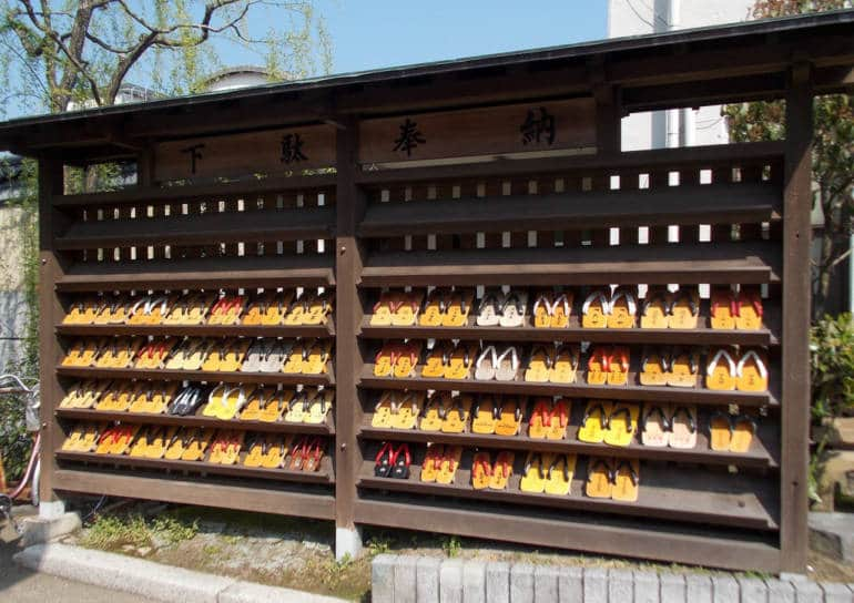 geta stacked at Kinosaki Onsen