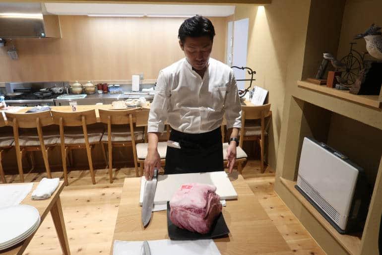 Kinosaki Onsen Tajima beef preparation