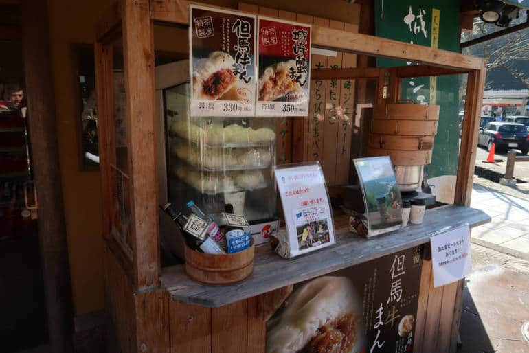 Kinosaki Onsen beef buns on sale in a display case