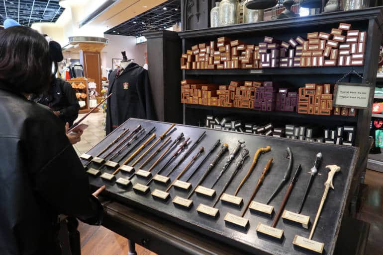 wands in a store at universal studios japan