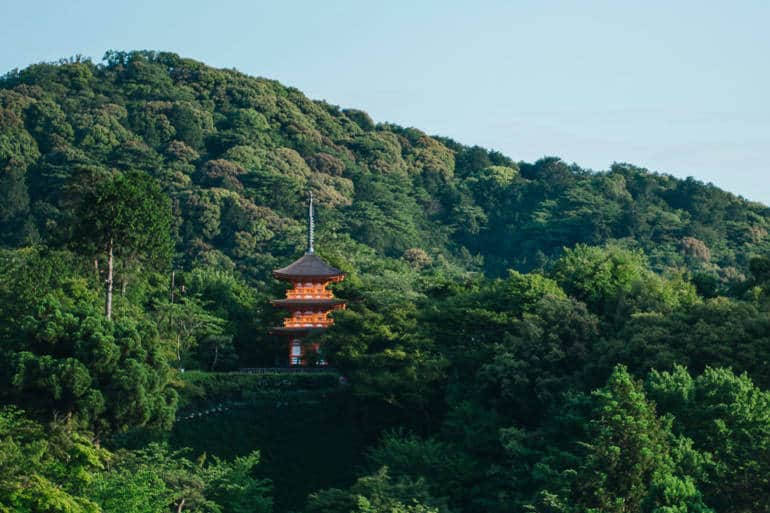 View of Kiyomizudera in the hills of Kyoto