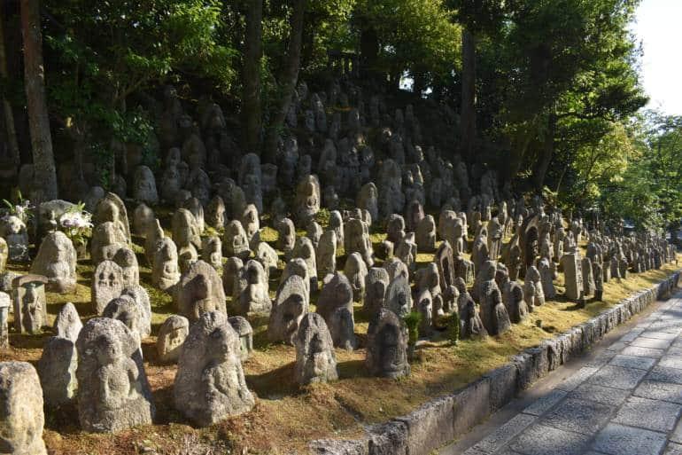 Jizo statues at Kiyomizudera Temple in Kyoto