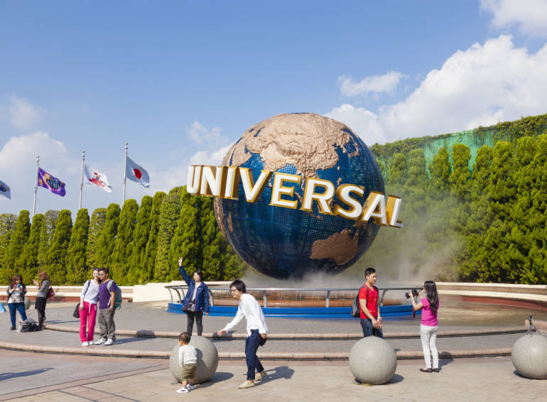 universal studios japan - osaka - the entrance with iconic globe