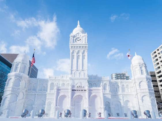 Ice sculpture of a building at the Sapporo Snow Festival