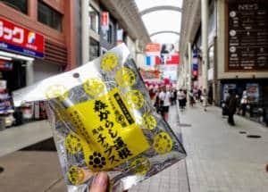 Karashi Renkon snacks in Shimotori Shotengai, Kumamoto