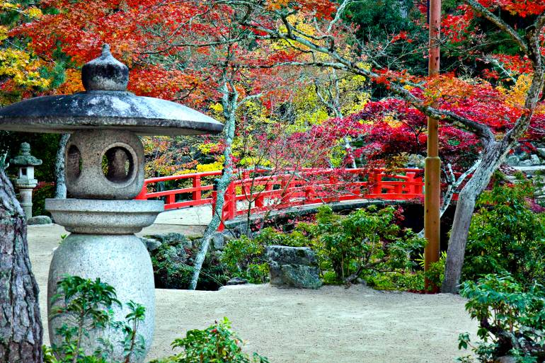 Lantern, Bridge and Autumn Colours in Miyajima Japan