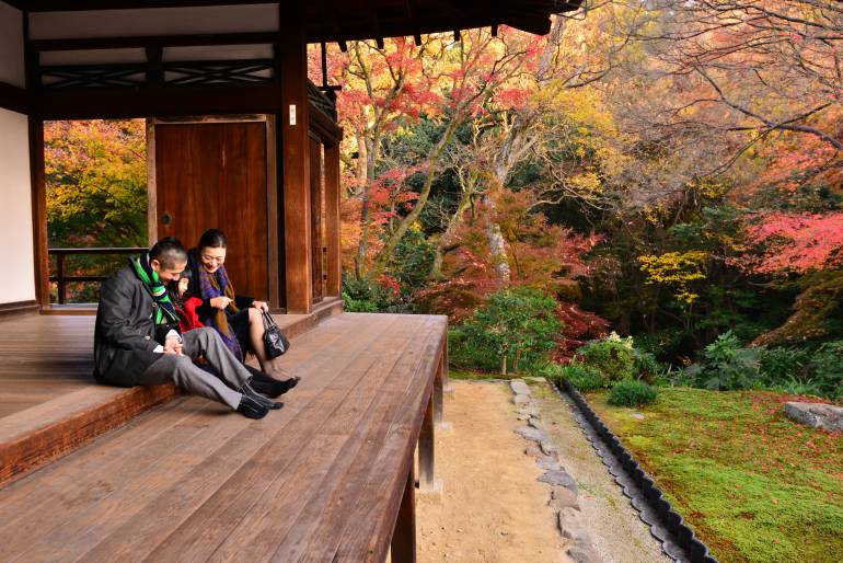 Japanese Family Appreciating Japanese Autumn Foliage at Tofuku-ji Temple, Kyoto