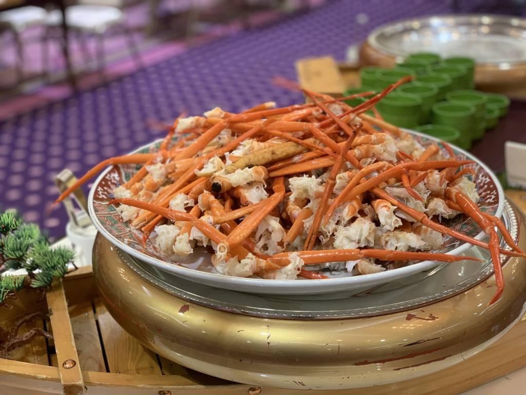 Crab legs Japanese dinner