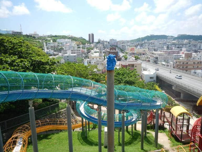 The giant slides at Kaigungo Park