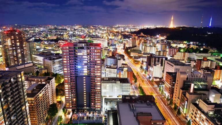 sendai downtown night miyagi japan
