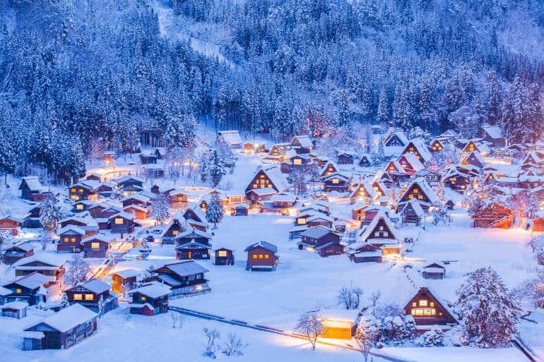 Shirakawago village and Winter Illumination Gifu, Chubu region
