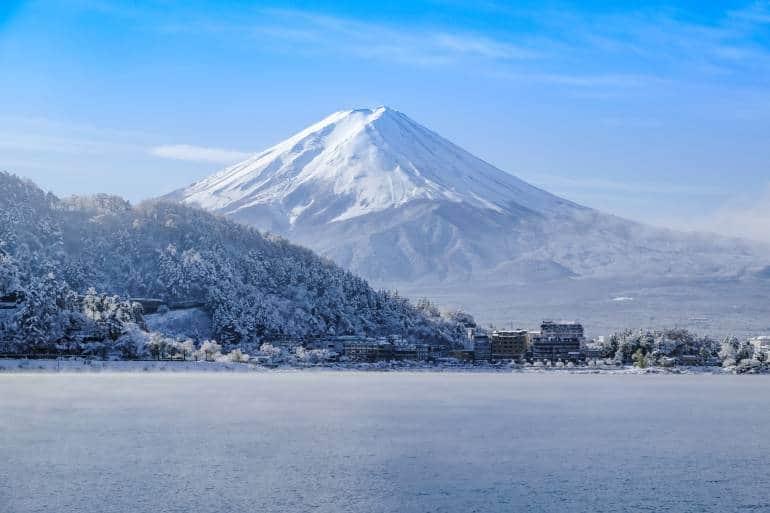 Mt Fuji with snow in winter at lake Kawaguchiko Japan