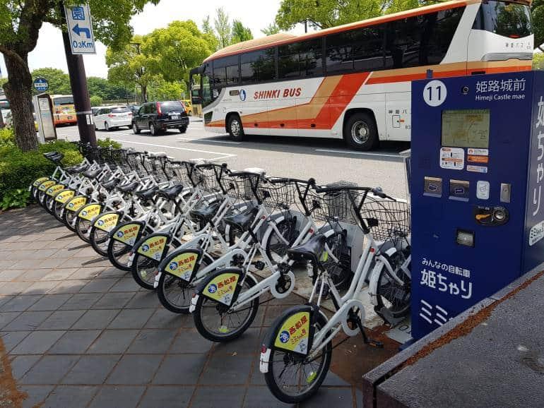 A rack of bikes in Himeji