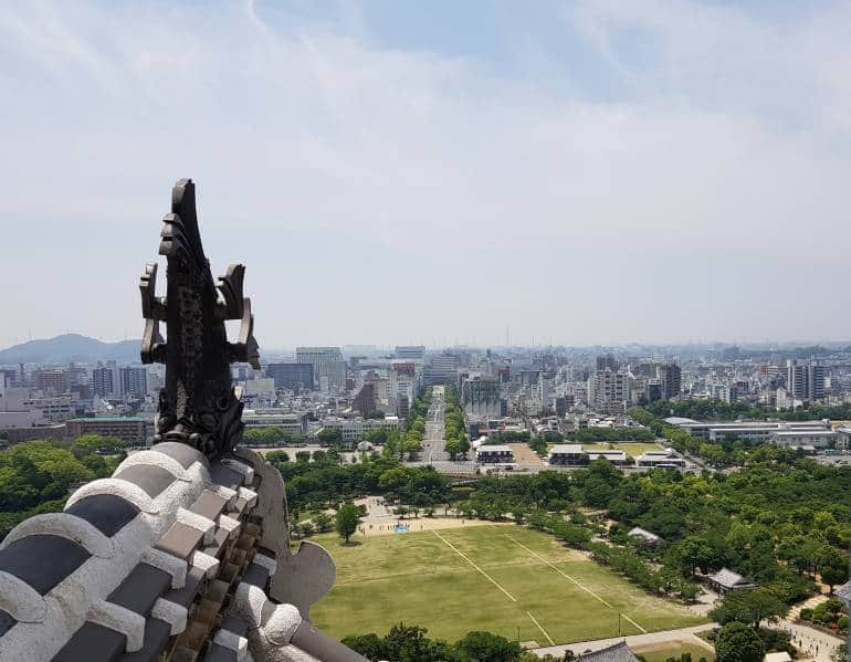 The view from Himeji Castle back towards the station