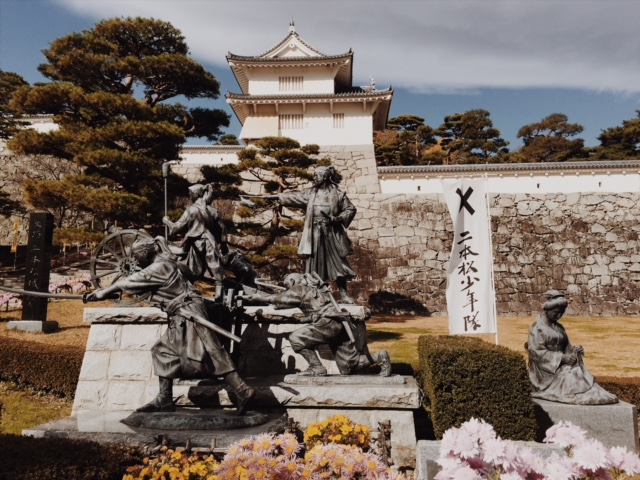 Samurai statues at Komine Castle - fukushima samurai tourism