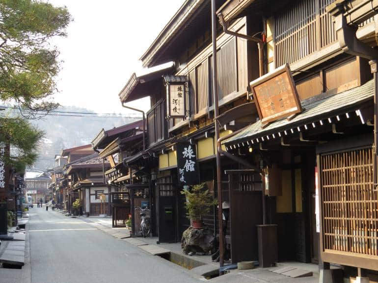 Buildings in the old town area of Takayama, Japan.