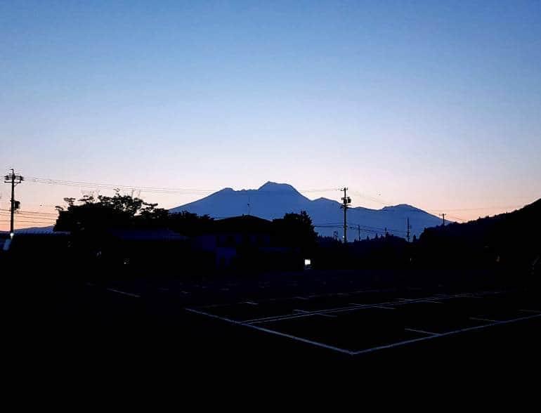 Silhouette of Mount Myoko from Lake Nojiri