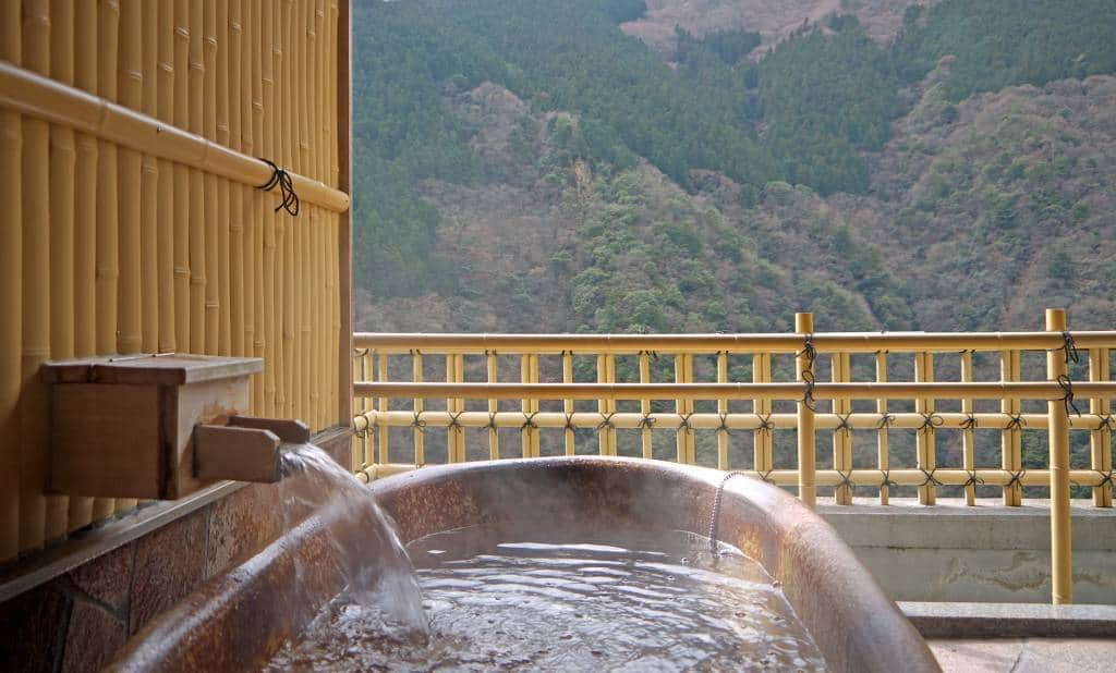 Private onsen in Japan with mountain views