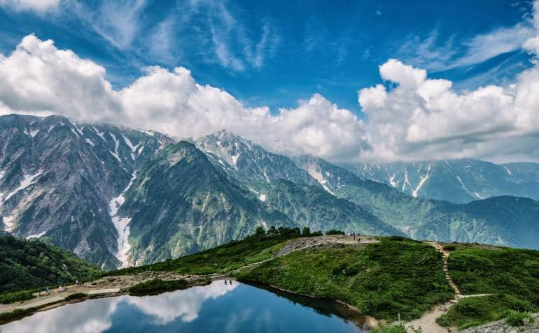 Scenic summer landscape in Hakuba Nagano Japan