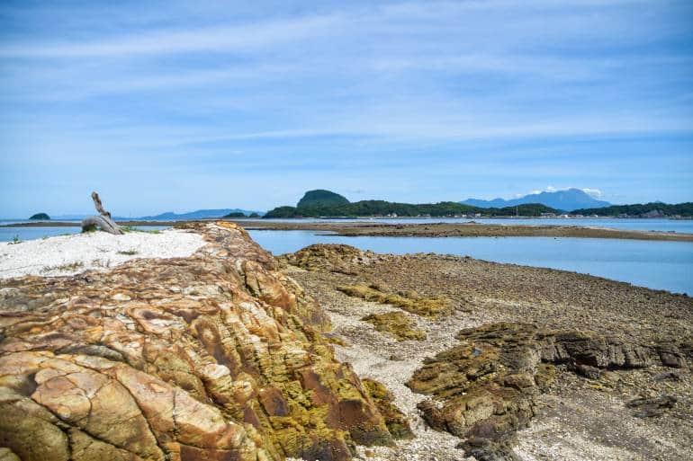 view of water and greenery of amakusa coast