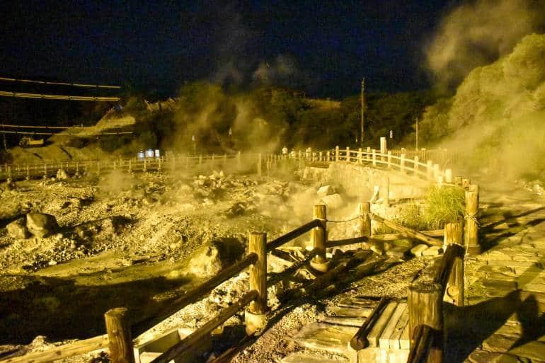 steamy Unzen hot springs at night