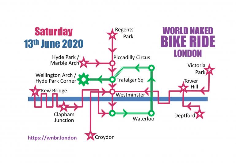 London Naked Bike Ride Map