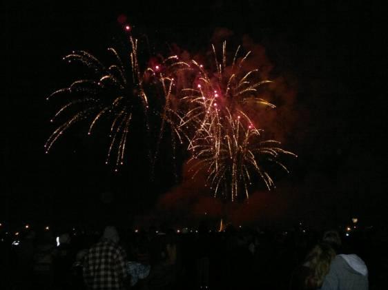 People watching a firework display