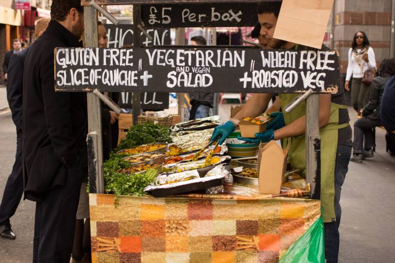 A food stall at Leather Lane market in London