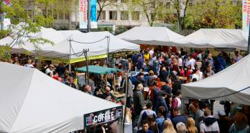 A busy food market in London