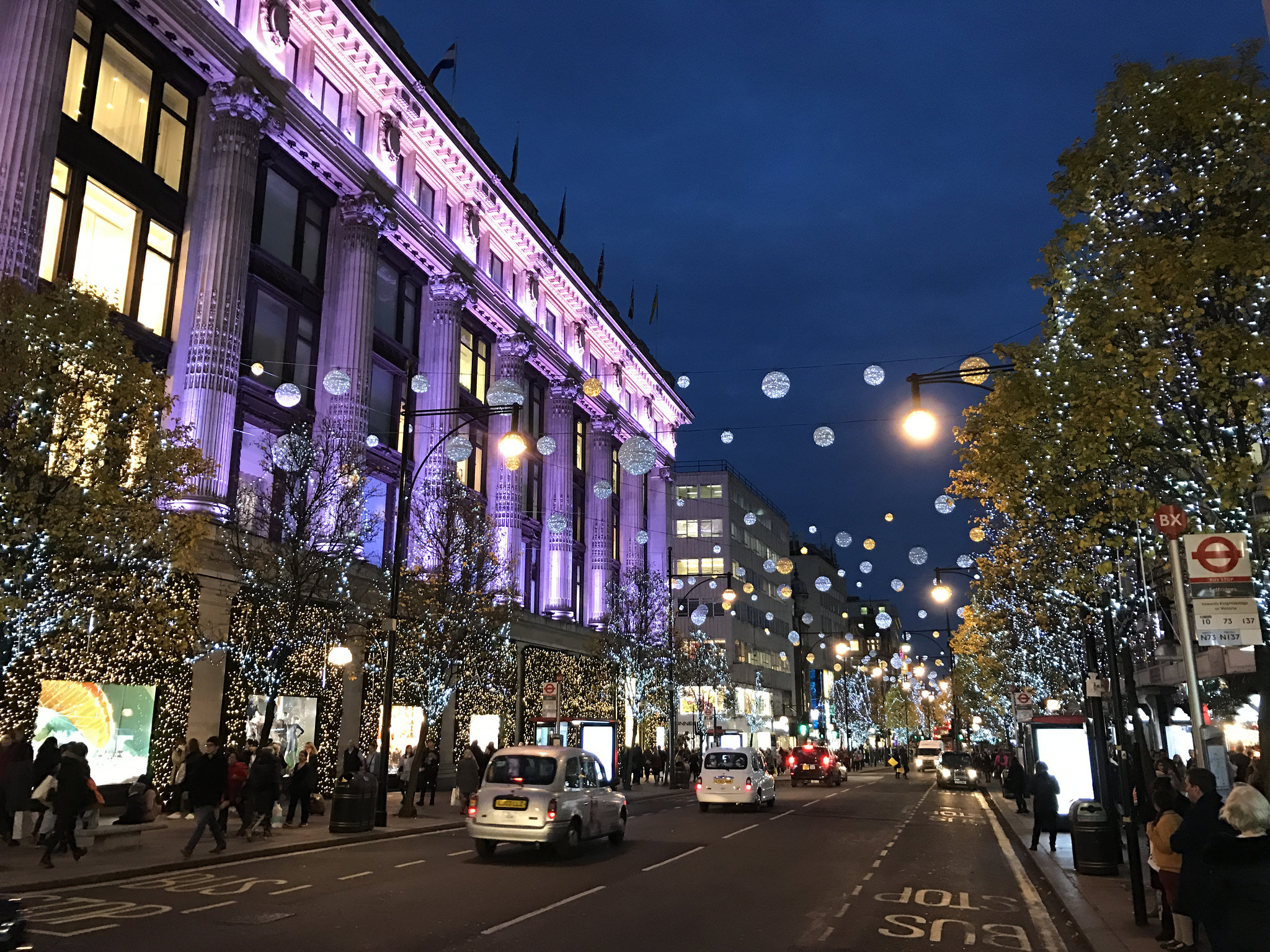 Christmas lights on Oxford Street in London