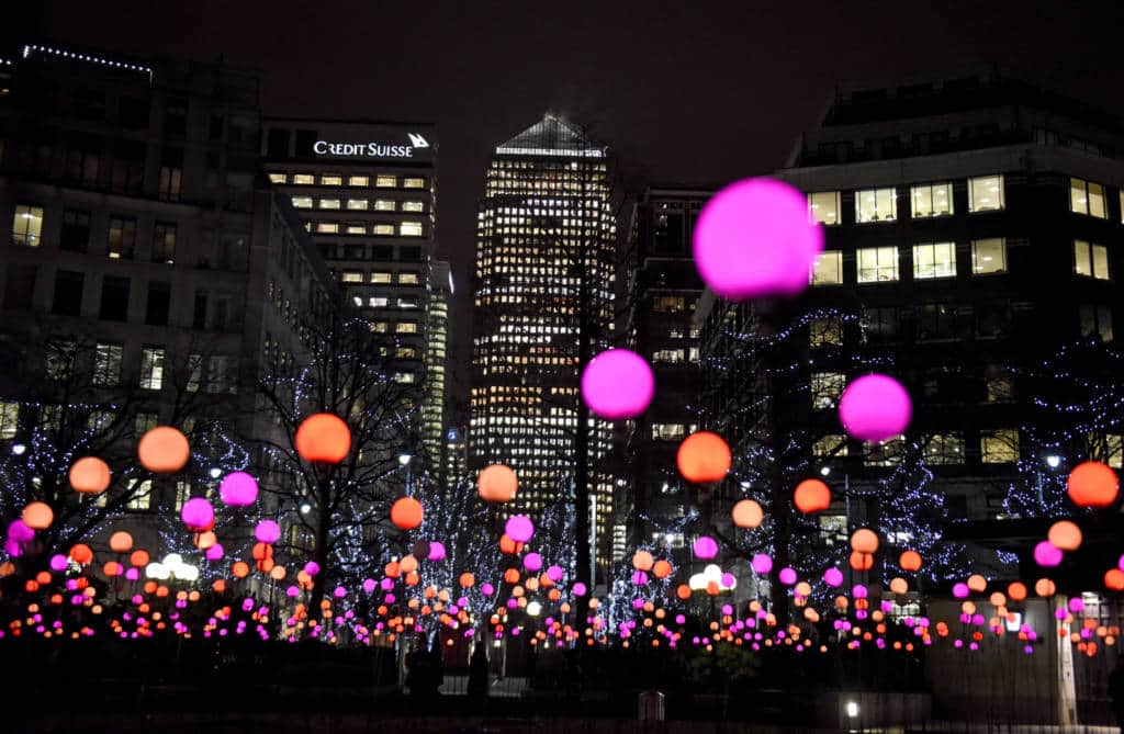 A colourful light display in London