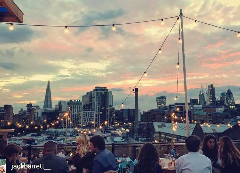 A rooftop in London at dusk