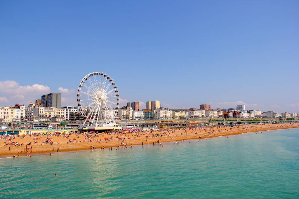 Brighton - view of the coastline and Ferris wheel - day trip from London
